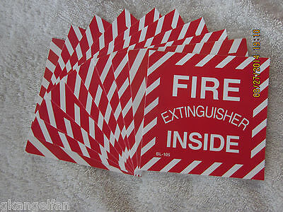 """(Lot Of 10)  """"fire Extinguisher Inside"""" Self-Adhesive Vinyl Sign's...4"""" X 4"""" New"""