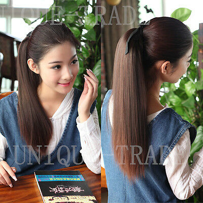 NEW LONG STRAIGHT PONYTAIL HAIR PIECE EXTENSION/ Multi Color Available