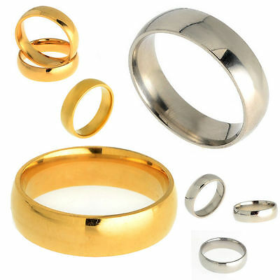 New Men Women Silver/Gold Stainless Steel Comfort Fit Plain Wedding Band Ring