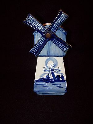 """Vintage Hand Painted Delft Blue Ceramic 7"""" Spinning Windmill Flower Pot"""