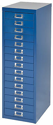 Bisley 15 multi drawer filing cabinet Blue