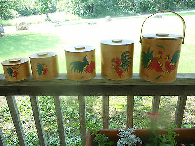 ROUND WOOD CHICKENS ROOSTER CANISTER SET COOKIE JAR BUCKET NESTING VTG 10 pc HTF