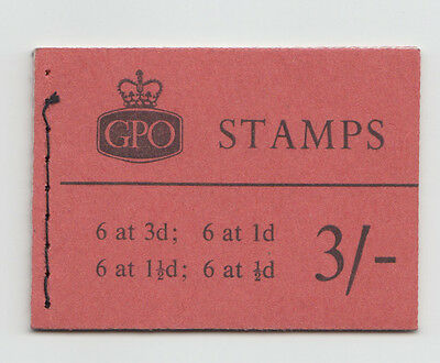 GB 0ctober 1959 3/- Booklet Crowns Watermark SG M15  3d and 1/2d Inverted