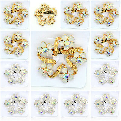Fashion Brooches Flower Crystal Rhinestone Brooch Pin Gold,Silver Color 12 Pcs