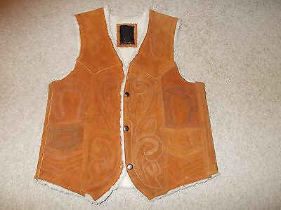 VTG-1970s Western Cowboy Hand Tooled Leather Suede sherpa Ranch Vest Horseshoe