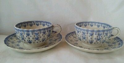 2 Spode Fleur De Lys Blue Cups and Saucers, Mint Condition! From England
