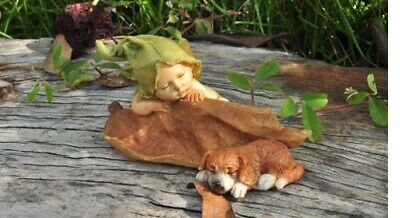 "2.25"" My Fairy Gardens Mini Figure - Sleeping Baby w/ Puppy - Miniature Figurine"