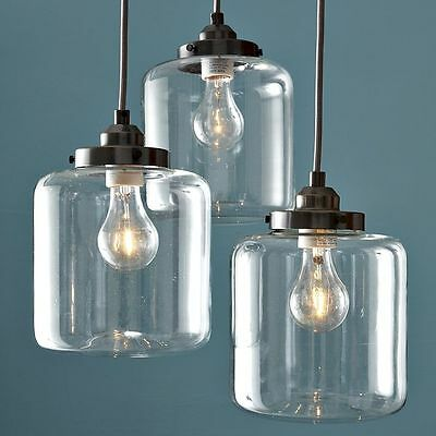Vintage Industrial Hanging Light 3 Glass Shade Ceiling Pendant Lamp New