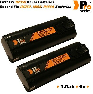 2 x replacement batteries 6v (pro-series)for paslode im350/350+/65/65A/250/020-2
