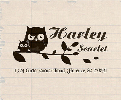 Custom Self Inking Personalized name envelope return address owl rubber stamp