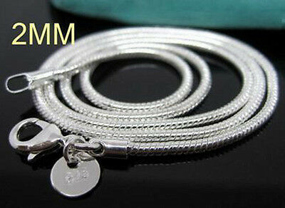 1PCS 925Sterling Silver Solid Silver Snake Chains Necklace 2MM 16-24inch C010