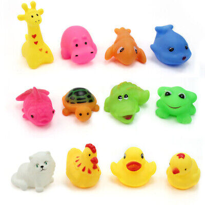 12pcs Rubber Baby Kids Sound Bath Toys Mixed Different Animal Washing Toys Set