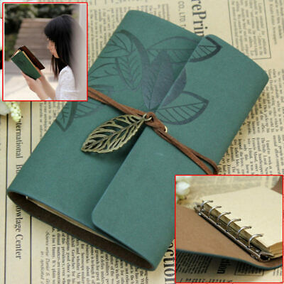 Vintage Dark Green PU Leather Cover Loose Leaf Blank Notebook Journal Diary Gift