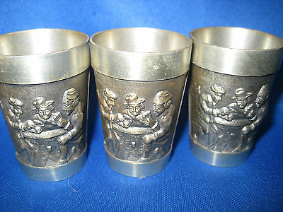 """Lot of Three 2"""" Antique  German Solid Pewter Embossed & Engraved Shooters/Cups"""