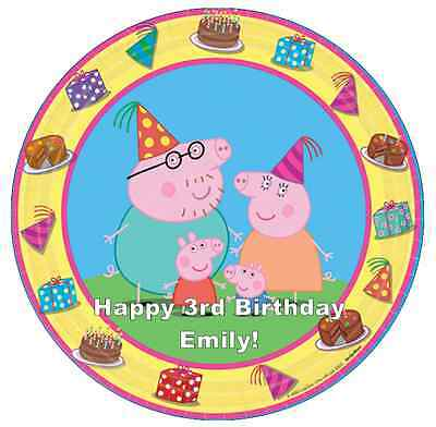 """Peppa Pig And Family Personalised Cake Topper 7.5"""" Edible Wafer Paper Birthday's"""