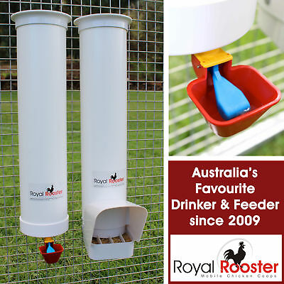 ROYAL ROOSTER Chicken / Poultry Coop - Waterer / Drinker & Feeder Set