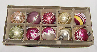 TEN PERFECT Shiny Brite Vintage CHRISTMAS BALLS in BOX!!