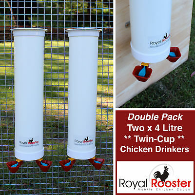 ROYAL ROOSTER Chicken / Poultry Coop - Two Waterers / Drinkers with twin cups
