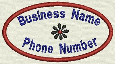 """Set of 6 Oval Custom Business Name Tag, Biker Patch, badge 4.5"""" x 2.5"""""""