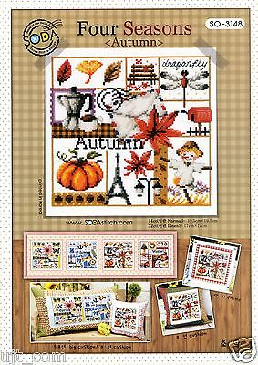 """Four season-Autumn"" Counted cross stitch chart. SODAstitch SO-3148"