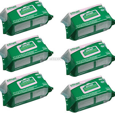 6x Pack 200 - CLINELL Universal Hand & Surface Sanitising, Disinfectant Wipes