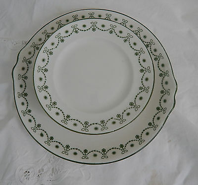 Sx Foley Pattern 0390 green garland   tea plates and cake plate