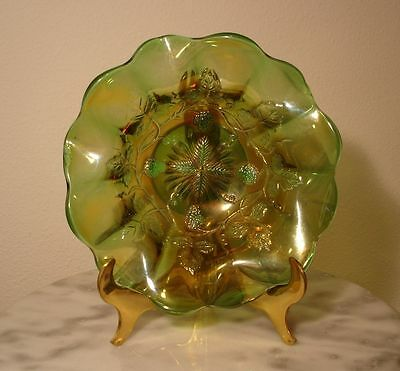 Millersburg Grape Wreath Carnival Glass Green Round Ruffled Bowl