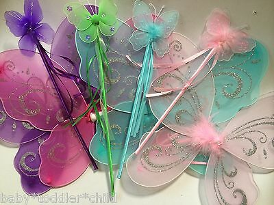 Angel fairy wings with MATCHING WAND Girls baby toddler adult dress party