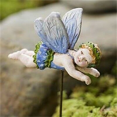 "2.25"" My Fairy Gardens Mini Figure Pick - Blue - Cherub Miniature Figurine Decor"