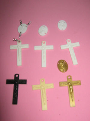 Crosses & Connector Medallions To Make Rosary- 10 Pieces