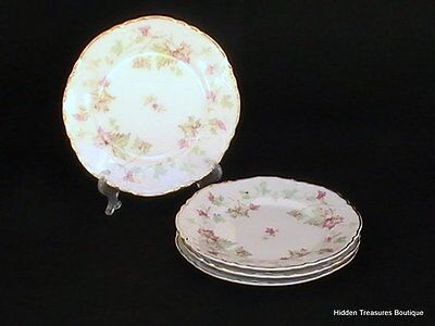 "Hutschenreuther ""Maple Leaf"" 4 Bread & Butter Plates Scalloped Bavaria Germa"