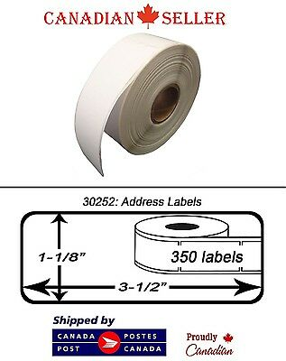 """8 Rolls of Dymo 30252 Compatible 1-1/8"""" x 3-1/2"""" Thermal Address Shipping Labels"""