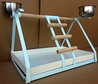 WHITE SMALL PARROT BIRD METAL PLAYSTAND Play Gym With Stainless Steel Cups -962