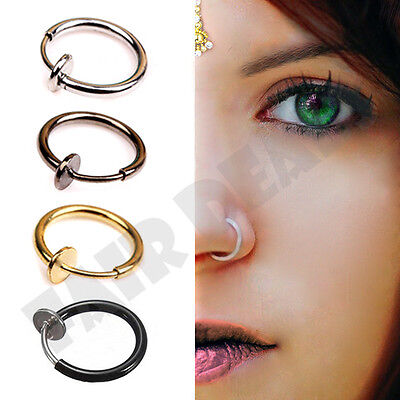 Clip On Fake Nose Hoop Ring Ear Septum Lip Navel Eyebrow Earrings Piercing - UK