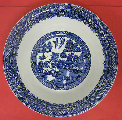 ANTIQUE BLUE WILLOW ROUND SERVING DISH/VEGETABLE BOWL-WOODS WARE-SONS-ENGLAND