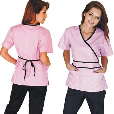 Medical Nursing Women Scrubs NATURAL UNIFORMS Contrast Mock Sets Size XS - 3XL