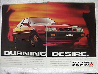 1987 Mitsubishi Cordia Turbo Australian Magazine 2 Page Colour Advertisement