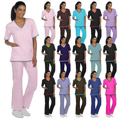 Medical Nursing Scrubs NATURAL UNIFORMS Contrast Trim Sets XS S M L XL 2XL 3XL