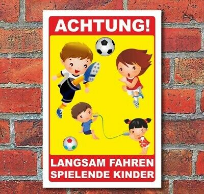 schild achtung spielende kinder langsam fahren 3 mm alu. Black Bedroom Furniture Sets. Home Design Ideas