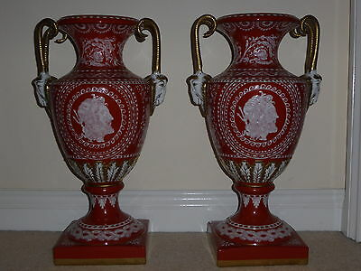 Modern Pate sur Pate Terracotta Urns Vases Greek Roman Sevres Style Continental