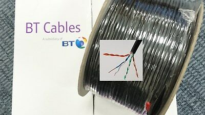 5M BLACK CAT5e CABLE 4 PAIR 8 Core BT Spec CW1724 2 SOLID COPPER TELEPHONE 1308