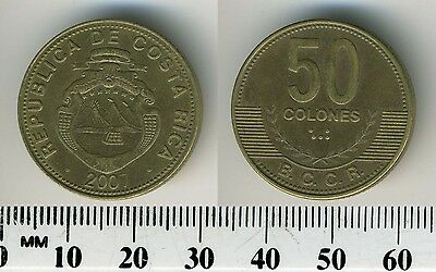 Costa Rica 50 Colones, 2007 - Brass  Plated Steel Coin