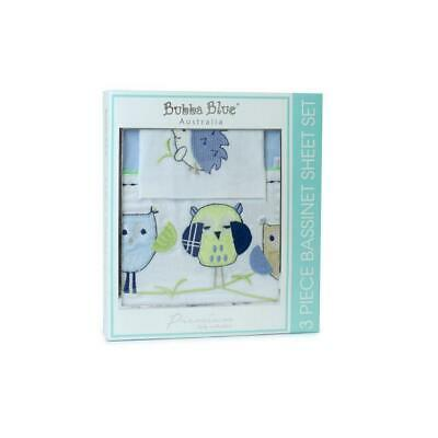Bubba Blue Embroidered Baby Owl Boy Bassinet Sheet Set