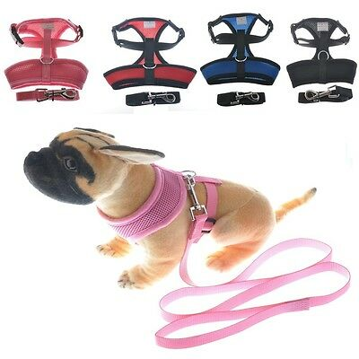 Dog Cat Pet Control Harness and Leash Collar Mesh Strap Vest Soft Chest S M L US