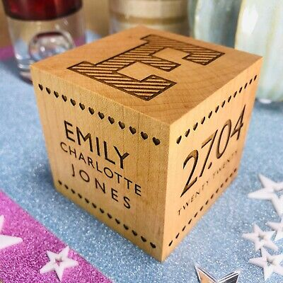 Beautiful Personalised Baby Birth Record Solid Wood Block Christening Gift