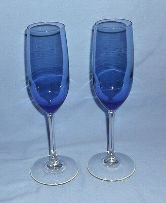 "Cobalt Blue Tall Champagne Flutes - Set of 2 - Clear Stems - 9 1/4"" Tall"
