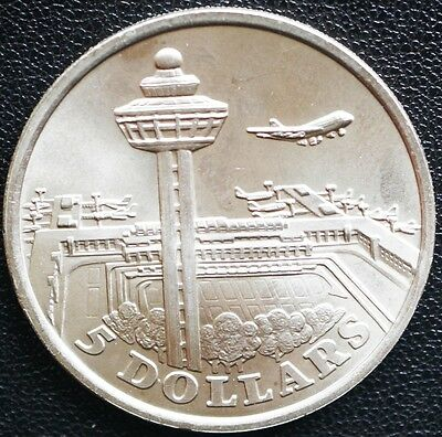 1981  Singapore 5 Dollars KM# 19  * Changi Airport *  MS UNC Coin