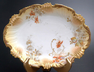 JC LIMOGES HAND PAINTED FLORAL BOWL WITH GOLD TRIM