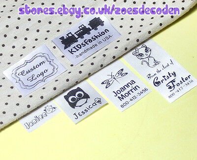30x Custom clothes logo label sew in hanging tag fabric garment Personalized