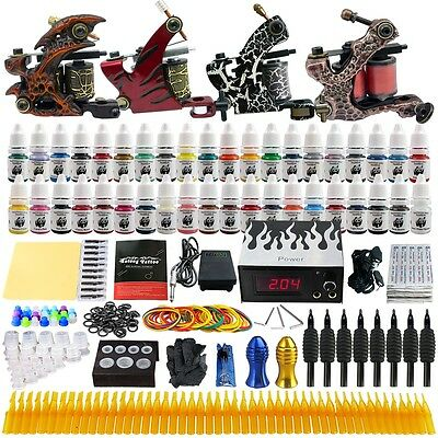 Complete Tattoo Kits 4 Pro Machine Guns 40 Inks Power Supply Needle Grips TK455